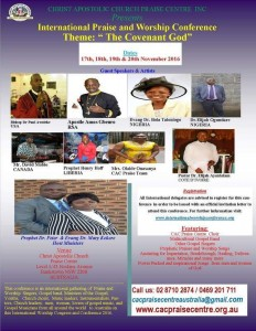 CAC Praise Centre Conference flyer 2016